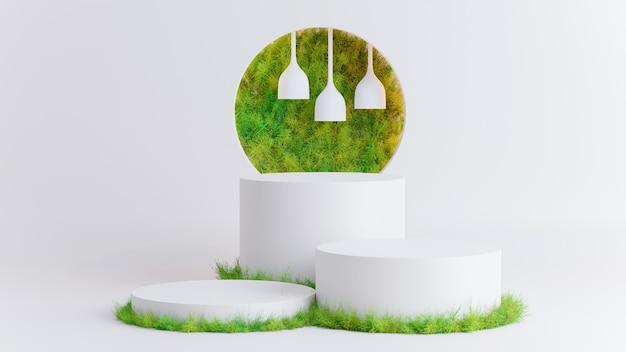 3d визуализация белого подиума с зеленой травой