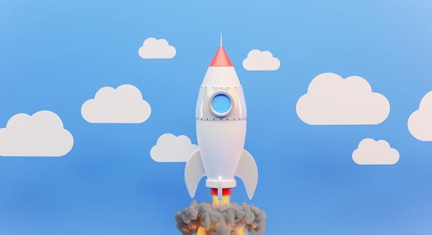 3d визуализация запуска белой ракеты с облаком