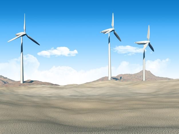 사막 장면에서 풍력 터빈의 3d 렌더링