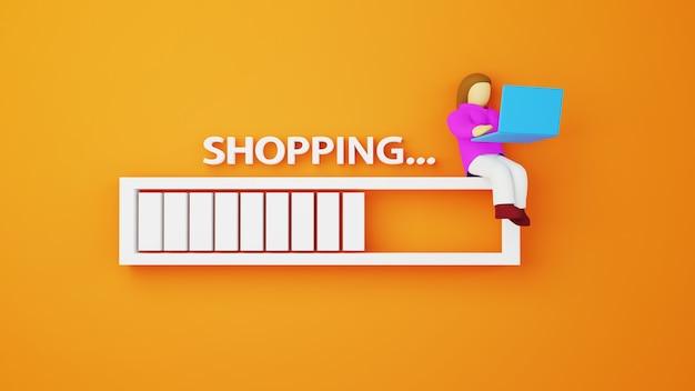 여자와 다운로드 바의 3d 렌더링입니다. 온라인 쇼핑 및 웹 비즈니스 개념에 전자 상거래. 스마트 폰으로 안전한 온라인 결제 거래.
