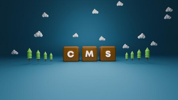3d визуализация деревянного текста блока cms на синем