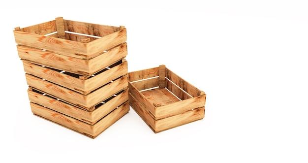 3d визуализация стека деревянных ящиков, изолированные на белом фоне. пустые деревянные ящики