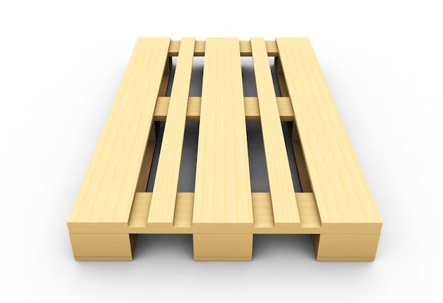 3d визуализация деревянного поддона, изолированные на белом фоне