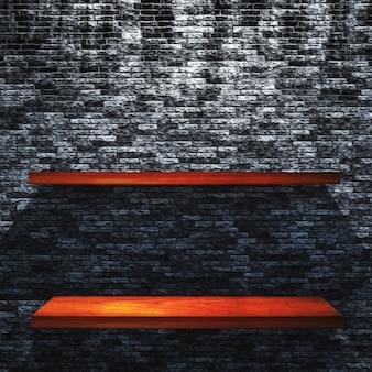 3D render of wooden shelves on a grunge brick wall
