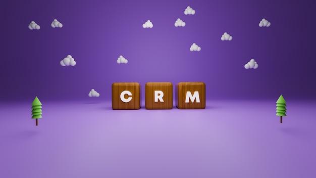 3d-рендеринг текста блока crm в деревянном стиле на фиолетовом