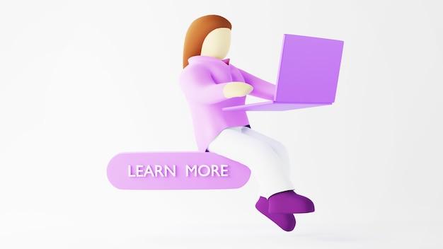 작업 여자와 노트북의 3d 렌더링입니다. 온라인 쇼핑 및 웹 비즈니스 개념에 전자 상거래. 스마트 폰으로 안전한 온라인 결제 거래.