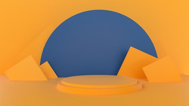 제품 프리젠 테이션을위한 노란색 추상 연단의 3d 렌더링