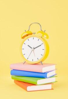 교육 개념이 있는 노란색 알람 시계의 3d 렌더링, 모형 디자인을 위한 책 스택