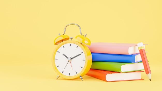 교육 개념, 책 스택, 모형 디자인을 위한 연필이 있는 노란색 알람 시계의 3d 렌더링