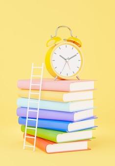 교육 개념, 책 스택, 모형 디자인을 위한 계단이 있는 노란색 알람 시계의 3d 렌더링