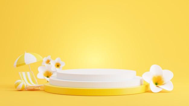 製品展示のための夏のコンセプトを持つ黄色の表彰台の3dレンダリング