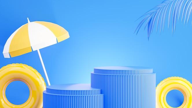 3d визуализация желтого подиума с летней концепцией для отображения продукта