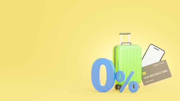 3d render of offer promotion 0% with credit card