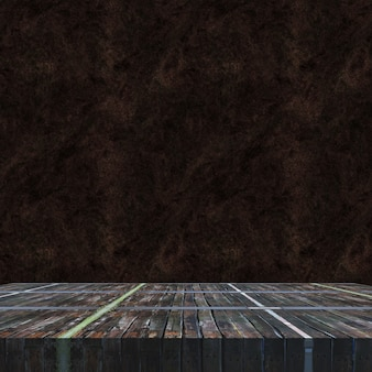 3d render of an old wooden vintage table against a grunge background