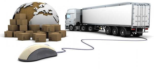 Rendering 3d di linea tracciamento degli ordini merci