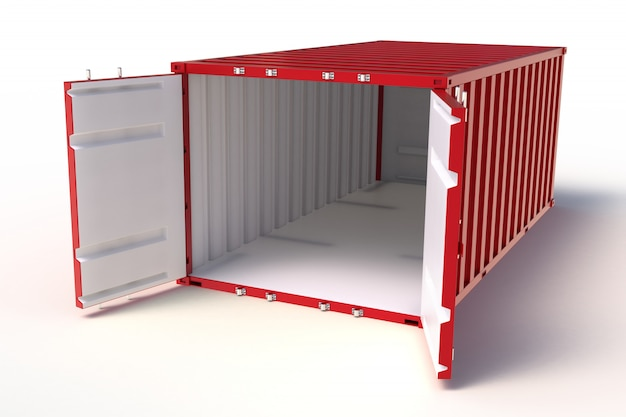 3d render open container on white background