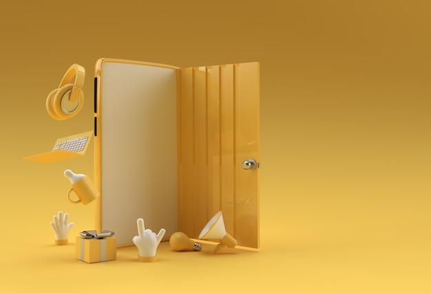 3d render open door символ новой карьеры, возможностей, деловых начинаний и инициативы. бизнес-концепция дизайн.