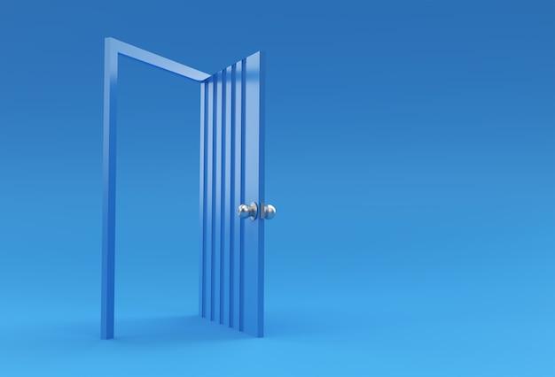 3d render open door 새로운 경력, 기회, 비즈니스 벤처 및 이니셔티브의 상징입니다. 비즈니스 컨셉 디자인입니다.