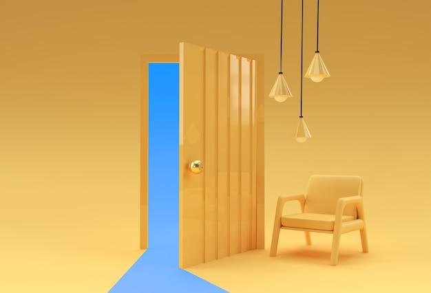 3dレンダリングオープンドア新しいキャリア、機会、ビジネスベンチャー、イニシアチブの象徴。ビジネスコンセプトデザイン。