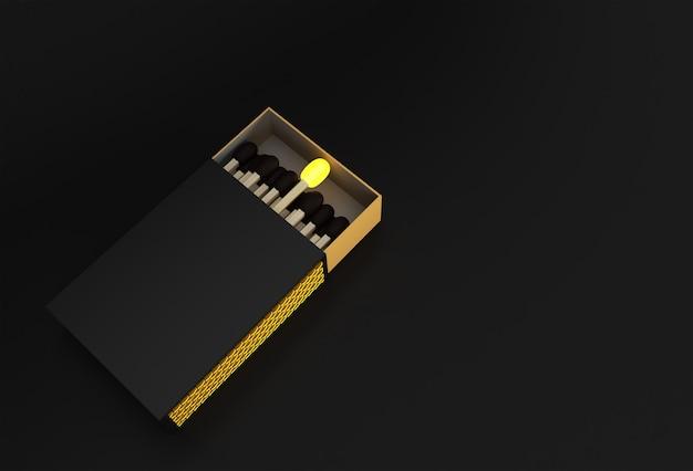 3dレンダリングは、色の背景で分離された空白のマッチ箱のモックアップを開いた