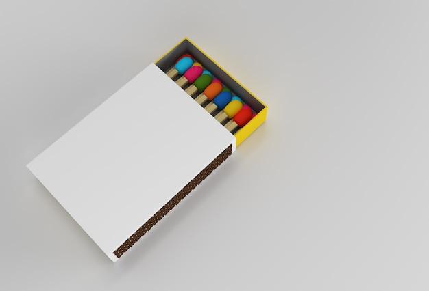 3dレンダリングは、色の背景で分離された空白のマッチボックスのモックアップを開いた