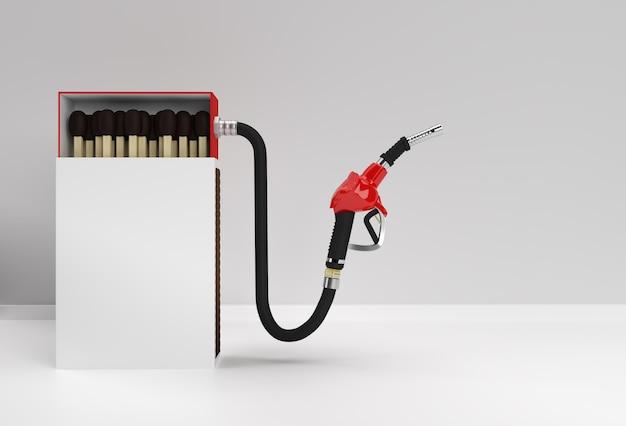 色の背景に分離された燃料ポンプノズルと3dレンダリングオープンブランクマッチボックスモックアップ