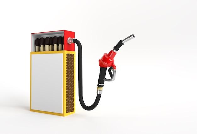 色の背景に分離された燃料ポンプノズルと3dレンダリングオープンブランクマッチ箱モックアップ