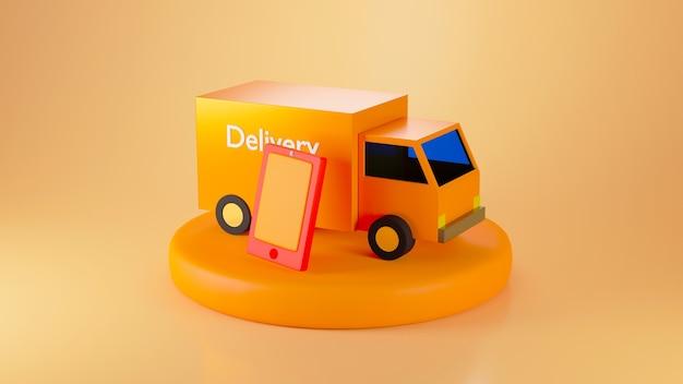 オレンジ色の背景に分離された表彰台にオレンジ色の配達用バンとスマートフォンを3dレンダリング