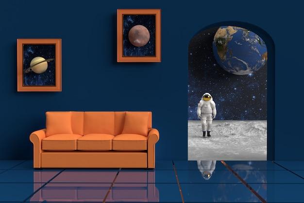 宇宙飛行士と3dレンダリングオレンジ色のソファ