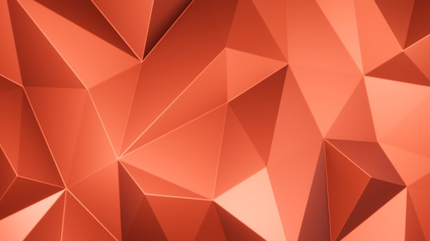 3d render orange triangle polygons abstract mosaic background