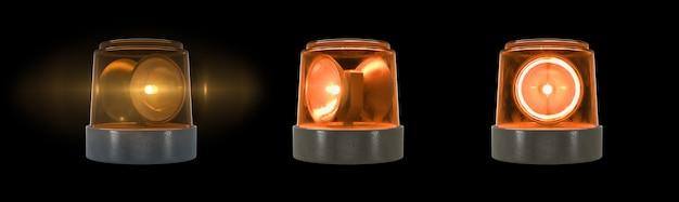 검정색 배경에 플레어가 있는 3d 렌더링 주황색 경고등