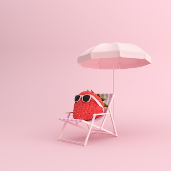 3d render of outdoor chair and strawberry with sunglasses on pink background