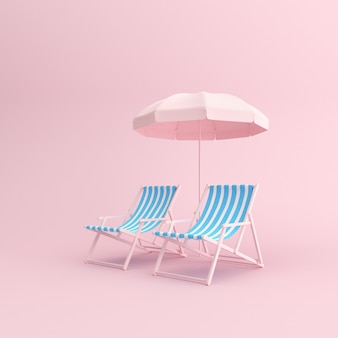 3d render of outdoor chairs with umbrella on pink background.