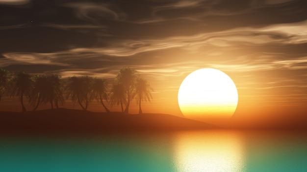 日没時の3 dレンダリングのヤシの木