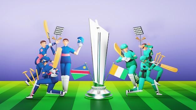 ナミビア対アイルランドの3dレンダリング参加クリケットチームの選手と銀メダルを獲得したトロフィーとトーナメント機器のイラスト。