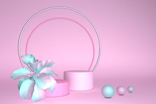 3d 렌더링 파스텔 배경 핑크 봄 꽃으로 장식 된 둥근 받침대 빈 화장품 매장 쇼케이스 스탠드 패션 파스텔 색상 프리젠 테이션 템플릿
