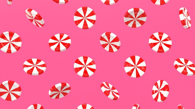 3d render pattern candy lollipop white red broken