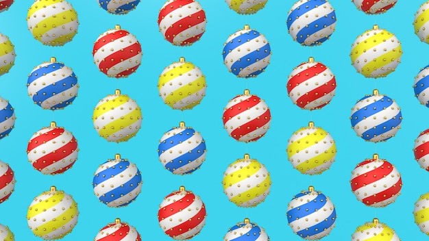3d render pattern of christmas tree decorations
