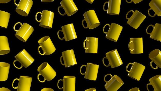 黄色いカップの3dレンダリングパターン