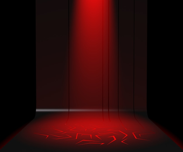 3d render pedestal for display, blank product stand, red light