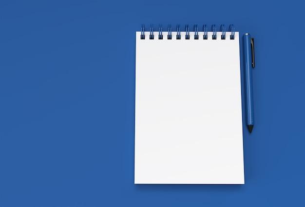 パステルブルーの背景に3dレンダリングペンとメモ帳。