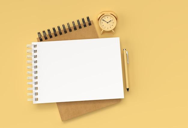 パステルカラーの背景にalram時計とショッピングカートを備えた3dレンダリングペンとメモ帳。