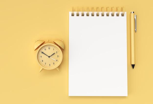 파스텔 노란색 배경에 알람 시계가 있는 3d 렌더링 펜 및 메모장.