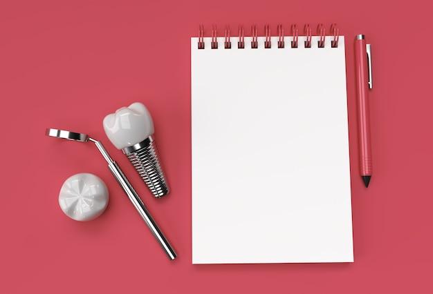 パステルブルーの背景に歯科インプラント手術を施した3dレンダリングペンとメモ帳。