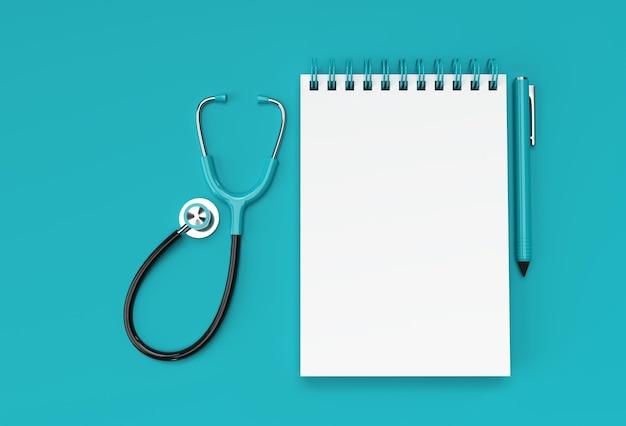 3d визуализация ручка и блокнот со стетоскопом доктора на пастельно-синем фоне.