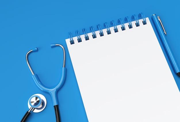 パステルブルーの背景にドクター聴診器を備えた3dレンダリングペンとメモ帳。