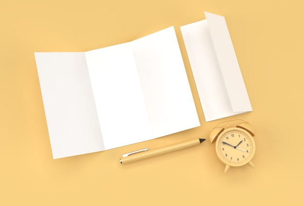 3d render pen and notepad with alram clock and shopping cart on the pastel color background.