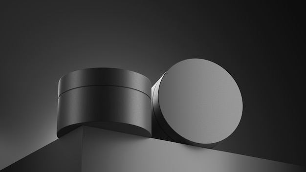 3d render perfume in a dark brutal layout a black bottle and jar cosmetics on a black background