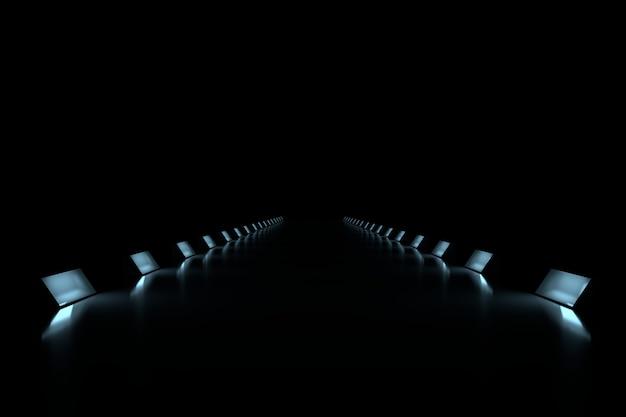 3d render perspective light background.