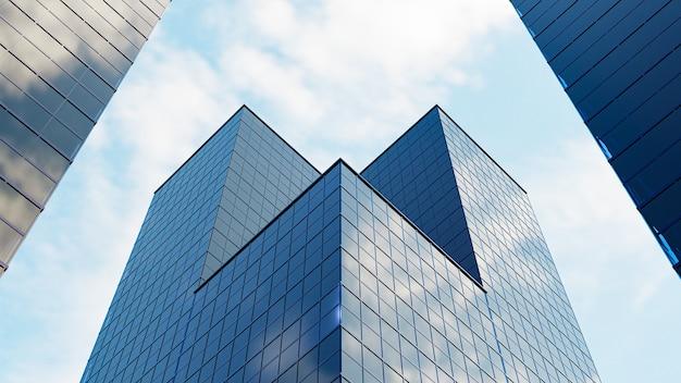 3d визуализация. перспектива, небоскреб направлен в небо. синий градиент, дизайн здания